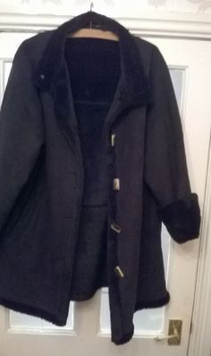 Ellie Louise Heavy Winter Coat in Black Fur Lined Suede Effect Size 20 Heavy Winter Coat, Fur, Clothes For Women, Sweaters, Jackets, Black, Fashion, Outerwear Women, Down Jackets