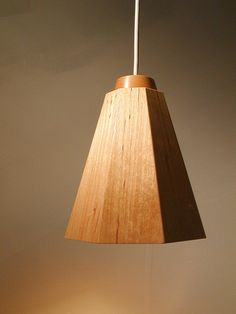Gray Birch Pendant lamp from Munjoy Woodworks handmade wood lamps