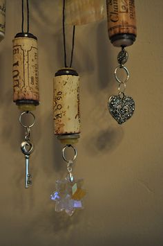 Wine cork ornaments/could be cute wine glass charms or ceiling fan pulls or necklaces  ...endless possibilities
