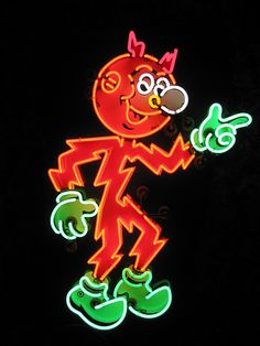 Neon Reddy Kilowatt for the Alabama Power Company Cool Neon Signs, Vintage Neon Signs, Neon Light Signs, Advertising Signs, Vintage Advertisements, Neon Nights, Roadside Attractions, Old Signs, Neon Lighting