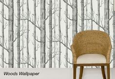 Woods Onyx and White Wallpaper
