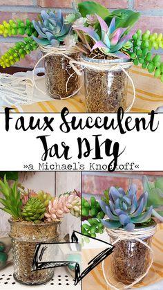 Faux Succulent Jar DIY   Hobnail House for Ellery Designs