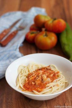 Reciclando comida, espaguetis con pollo