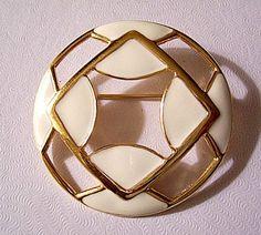 Monet Beige Diamond Pin Brooch Gold Tone Vintage Round Diamond Slotted | PrettyJewelryThingsStore - Jewelry on ArtFire