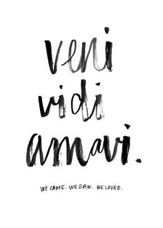 "we came. we saw. we loved is what this says. I'd like the font but i would want it to say ""Veni Vidi Vici"" instead"