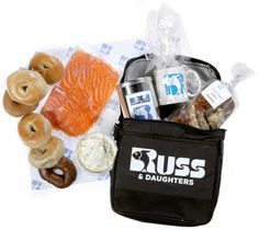 """For the New Yorker: The """"New York Brunch"""" gift basket from Russ and Daughters, wrapped in a signature tote."""