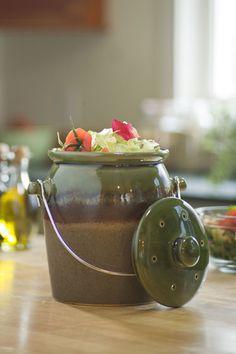 Green Stoneware Compost Crock
