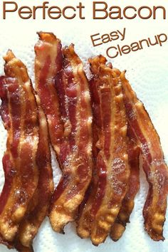Hate to cook bacon & cleanup afterwards? This is my easy method, takes the shortest time, gets the most consistent results & cleanup is almost non-existent! Easy Bacon Recipes, Pork Recipes, Brunch Recipes, Breakfast Recipes, Cooking Recipes, Sandwich Recipes, Delicious Recipes, Thm Recipes, Cooking Videos