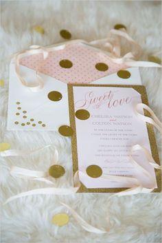pink and gold confetti wedding invitation