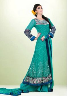 Sea Green Embroided A-Line Ankle Length Crinkle Chiffon Party Dress