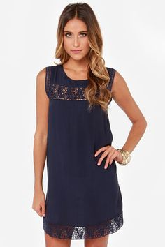 LULUS Exclusive Hotel California Navy Blue Shift Dress at LuLus.com!
