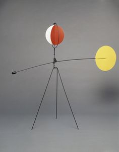 """RED AND YELLOW VANE, 1934 Sheet metal, wire, lead, and paint 69"""" x 80"""" x 28"""" Calder Foundation, New York"""