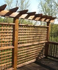 trellis tops off this gridded privacy screen...perfect for side of deck