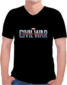 Civil War Captain America Kendin Tasarla - Erkek V Yaka Tişört