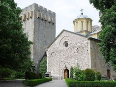"""Mansija monastery, near Despotovac, Serbia,founded by Despot Stefan Lazarević between 1406and 1418. The church is dedicated to the Holy Trinity. It is one of the most significant monuments of medieval Serbian culture and it belongs to the """"Morava school"""". The monastery is surrounded by massive walls and towers. Immediately following its foundation, the monastery became the cultural centre of the Serbian Despotate."""