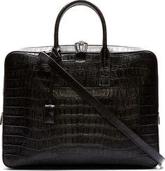 Saint Laurent - Black Leather Croc-Embossed Museuem Flat Briefcase | SSENSE