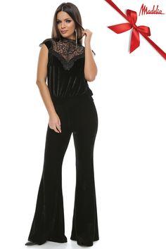 Salopeta din catifea si dantela | Madelia Fashion - Magazin online haine și rochii de damă Jumpsuit, Velvet, Collection, Dresses, Fashion, Overalls, Vestidos, Moda, Fashion Styles