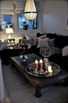Modern livingroom with black forniture