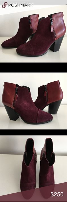"""RAG & BONE MARGOT BURGUNDY LEATHER & SUEDE BOOTS RAG & BONE MARGOT BURGUNDY LEATHER & SUEDE BOOTS, WITH ZIP AT SIDE CLOSURES, SIZE 41, STACKED HEEL 3.5"""", LEATHER UPPER LINING AND SOLE, BRAND NEW WITH BOX AND DUST BAG rag & bone Shoes Ankle Boots & Booties"""