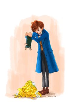 I keep thinking about that scene in Fantastic Beasts when Newt was giving his niffler the shake-down hehe. gif by The Da Imaginarium