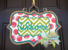 Hey, I found this really awesome Etsy listing at http://www.etsy.com/listing/128544018/spring-welcome-burlap-door-hanger
