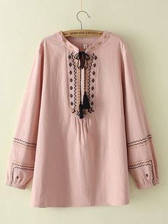 Embroidery Tassel Long Sleeve Plus Size Blouse can cover your body well, make you more sexy, Newchic offer cheap plus size fashion tops for women. Casual Tops For Women, Trendy Tops, Boho Tops, Western Tops, Western Wear, Kurti Sleeves Design, Flower Shorts, Georgia, The Office Shirts