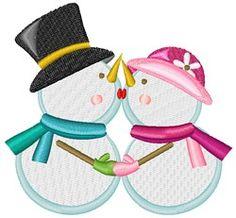 Snowman and Snowwoman Kissing machine embroidery design from embroiderydesigns.com Machine Embroidery Designs, Snowman, Kissing, Detail, Couples, Hats, Hat, Couple, Snowmen