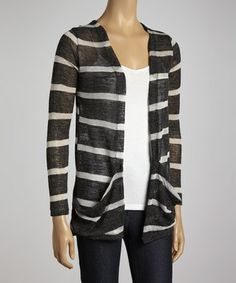 Take a look at this Black Stripe Open Cardigan by Clothing Showroom on #zulily today!