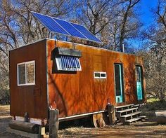 bens shopdog steely cottage off grid solar tiny house 0001 Man Builds 200 Sq. Solar Off Grid Tiny House Off Grid Tiny House, Tiny House Swoon, Tiny House Cabin, Tiny House Living, Tiny House Plans, Tiny House On Wheels, Cottage Living, Tiny House Movement, Tiny House France
