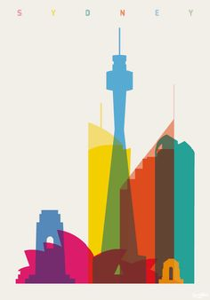 shapes of cities poster - sydney - by yoni alter