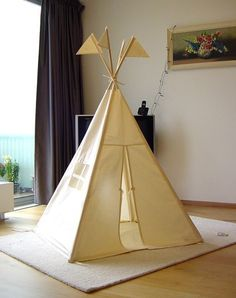 Items similar to Teepee tent - plain MIDI size - play tent tipi wigwam on Etsy Diy Kids Teepee, Teepee Play Tent, Teepees, Boys Teepee, Teepee Party, Spearmint Baby, Indoor Play, Indoor Tents, Home And Deco