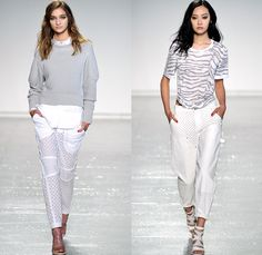 Rebecca Taylor 2014 Spring Summer Womens Runway Collection - New York Fashion Week - Sportswear Leather Mesh Multi-Panel Railroad Denim Jean...