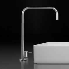 """It's all about the """"right"""" angles: INOX stainless steel faucet with blu•stone basin ;)   #faucet #decor #basin #interior #style #modern #minimal #minimalism #design"""