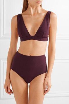 Zimmermann - Ribbed High-rise Bikini Briefs - Burgundy - 3