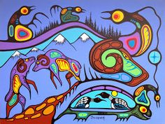 By Marc Anthony Jacobson Yarn Painting, Native American Paintings, Haida Art, Inuit Art, Indigenous Art, Native Art, Doodle Art, Mother Nature, Modern Art