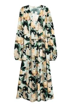 Robe croisée en satin - Vert menthe/fleuri - FEMME | H&M FR
