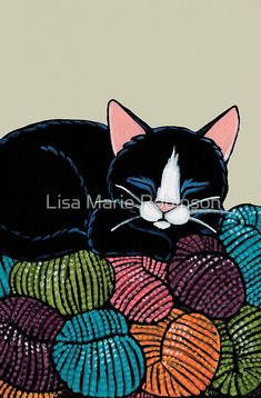 An illustration of a peaceful black and white tuxedo cat sleeping on top of a mountain of yarn. Blue yarn, green, tarn, orange, yarn, every colour under the sun. • Buy this artwork on stationery.
