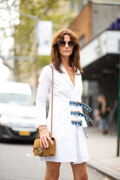 Hedvig Opshaug spotted wearing the Jimmy Choo ANDIE sunglasses and carrying the REBEL bag at #NYFW