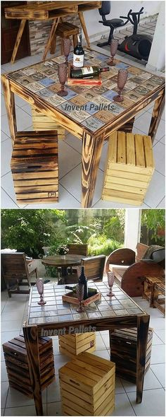 In the ideas of the recycling options of the wood pallet, you can create with some unique creations by using the wood pallet into it. This creation piece of the wood pallet is about the table piece that is accompanied with the pairing of the stools right into it that is much simply designed for your personal use.