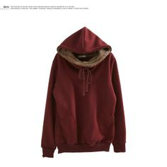 YESSTYLE (BAIMOMO) | hooded fleece-lined pullover | dark red | one-size