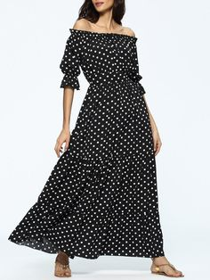 Fashionmia - Fashionmia Off Shoulder Polka Dot Chiffon Maxi Dress - AdoreWe.com