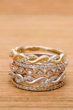 Best Stackable Wedding Rings Set And#8211; More Rings More Shine ★ See more: http://ohsoperfectproposal.com/wedding-rings-set/ #engagementring #proposal