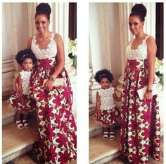 Ankara...lovely! I would prefer the modest neckline on the child's dress, and topped with a deep violet blazer.