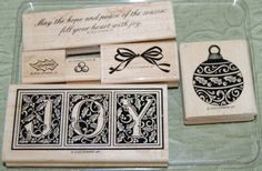 Stampin-Up-2000-JOY-Set-of-6-Joy-Ornament-Bow-Holly-Leaves-Berries-Verse