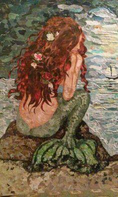 Torn paper collage by doris, the little mermaid Mermaid Fairy, Mermaid Tale, Manga Mermaid, Mermaid Pics, Real Mermaids, Mermaids And Mermen, Fantasy Mermaids, Paper Collage Art, Paper Art