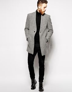 River Island Overcoat with Wool Mix, Men's Fall Winter Fashion.