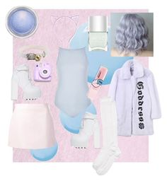 """""""pastel"""" by diabolic ❤ liked on Polyvore featuring Balmain, Topshop, Courrèges, Jeffrey Campbell, River Island, Hyein Seo, Polaroid, The Body Shop, Nails Inc. and MAC Cosmetics"""