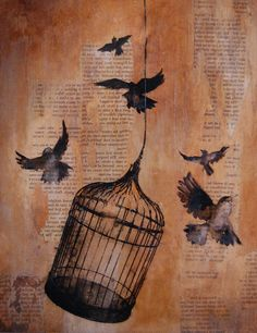 birdcage-I'm loving art done on old pages!                  art on old paper