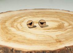Little Bird Stud Earrings Bamboo by BeamDesigns on Etsy