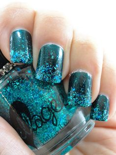 Ellagee: ☆ Crushed Tourlamine ☆ ... a clear base with a mix of metallic and holo glitter in shades of teal.